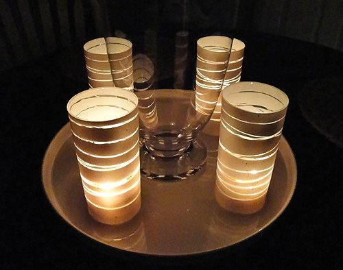 spray paint rubber band candle holders
