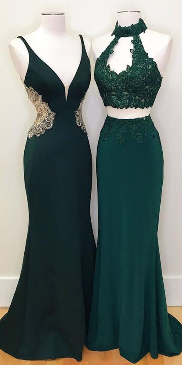 Teal Green Mermaid Evening Party Long Prom Dresses Wp006