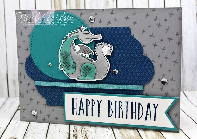 Nicole Wilson Independent Stampin' Up!® Demonstrator - Alisa's build a card Challenge using Myths and Magic #birthday #stampinup #nicolewilsonstamp #alisaschallenge #dragon