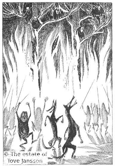 Tove Jansson: Goblins and Wolves dancing around burning trees/ The Hobbit