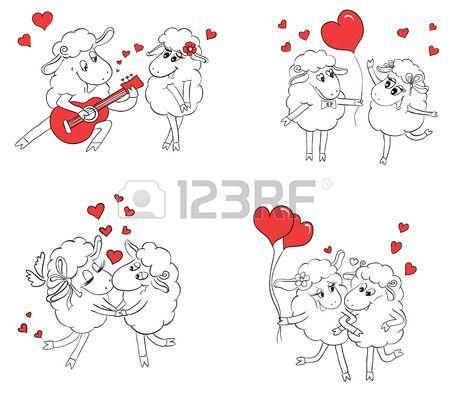 Пара в любви. Набор смешных картинок счастлив овец. Идея для поздравительной открытки с Днем свадьбы или День святого Валентина. Мультфильм каракули векторные иллюстрации Фото со стока