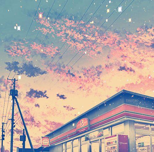 grafika anime, sky, and kawaii