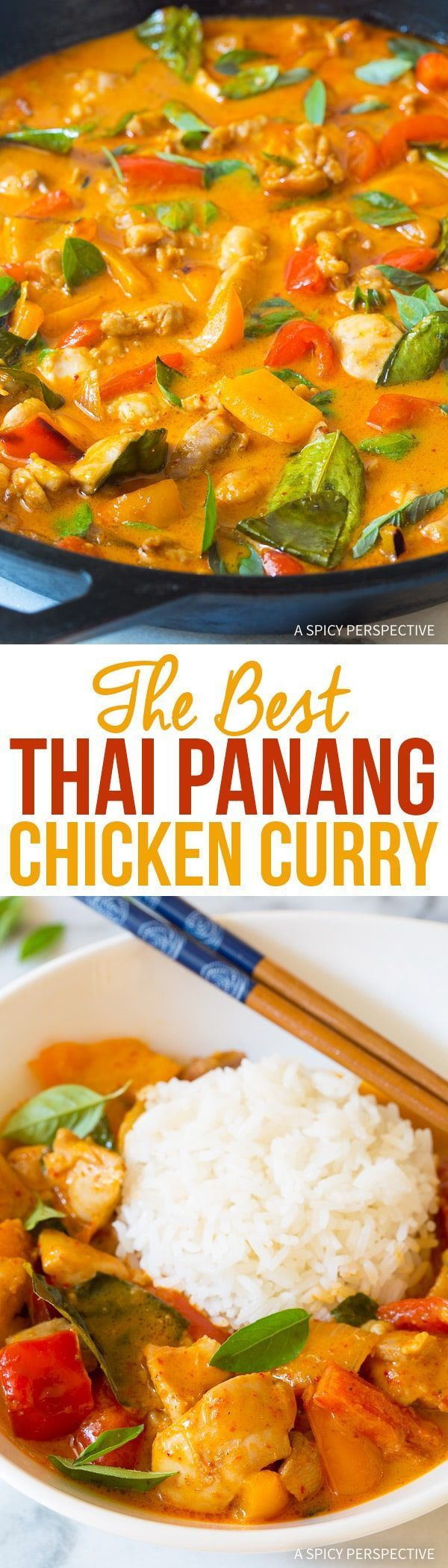 The Best Thai Panang Chicken Curry Recipe - The most amazing red chicken curry we've ever made! This light and healthy dish is better than any takeout option out there, and it's easy to make. via @spicyperspectiv