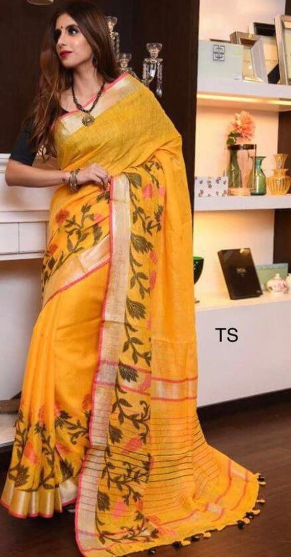 74089307505a5c Linen saree Organic Linen by Linen sarees with zari Work and blouse ...