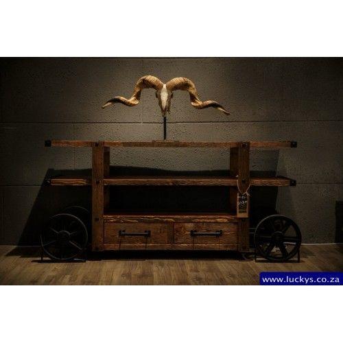 Bugatti Wood and Iron 2 Drawer Cabinet