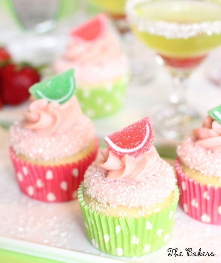 Strawberry Margarita Cupcakes - Cinco de Mayo - The Bakers Confections