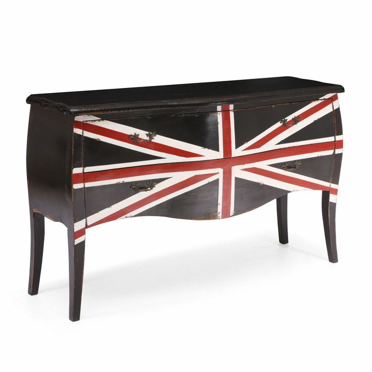 A cabinet with the British flag painted across adds some interest to a standard furniture piece.