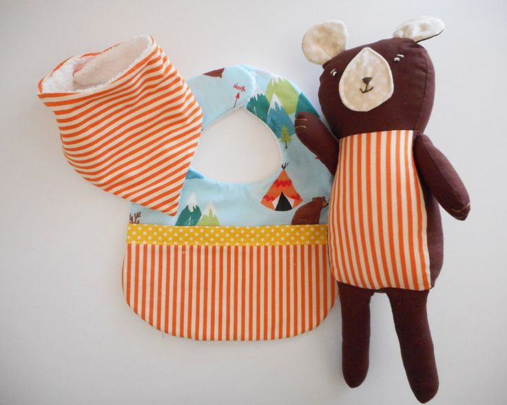 Soft Toy and Bibs Set- Brown bear with orange stripe and woodland print bibs by TheLullabyeGallery on Etsy