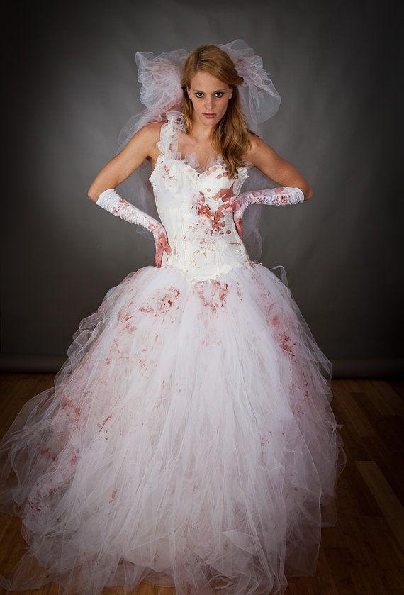 Größe Medium blutigen Tüll Burleske Ballkleid Zombie Corpse Killer Braut mit Schleier und Handschuhe Kostüm bereit, Schiff auf Etsy, 298,11€