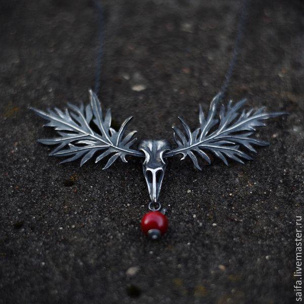 Sagebrush necklace, silver. Белоснежка - черный, серебро, колье, белоснежка, яблоко, череп, птица, лист, листья, полынь