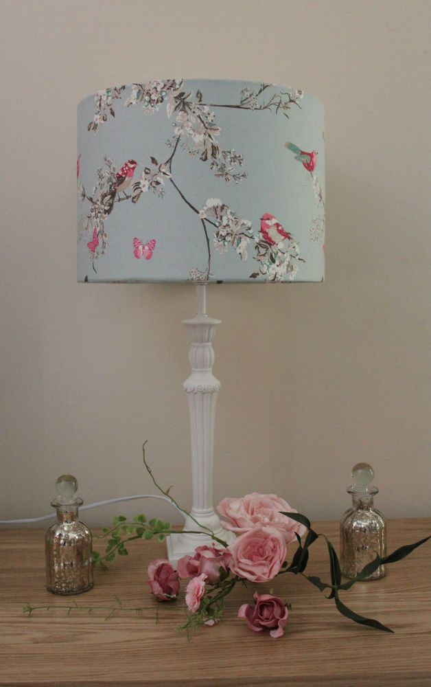 BEAUTIFUL BIRDS BLUE FABRIC LAMPSHADE / LIGHTSHADE 30CM HANDMADE