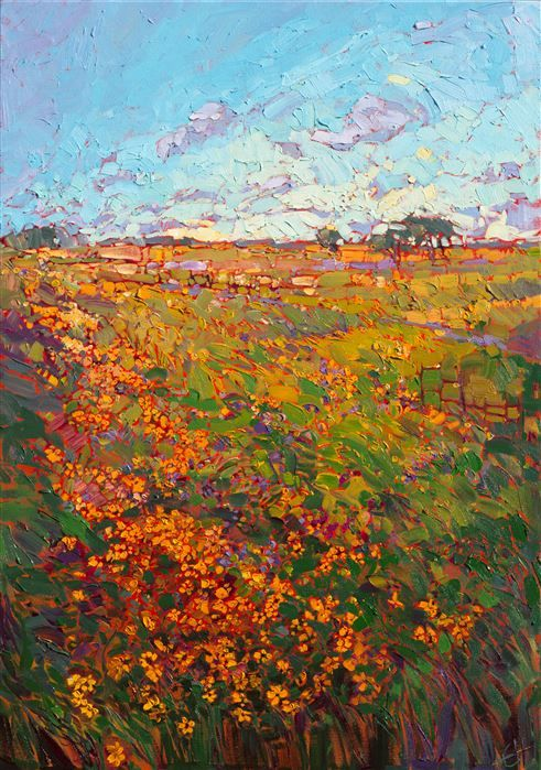 Texas wildflower oil painting impressionism landscape by Erin Hanson