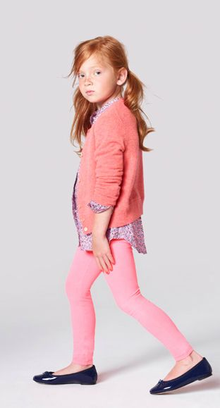 j. crew kids pink striped cardigan, pink striped pollywog leggings, buttonuptunic