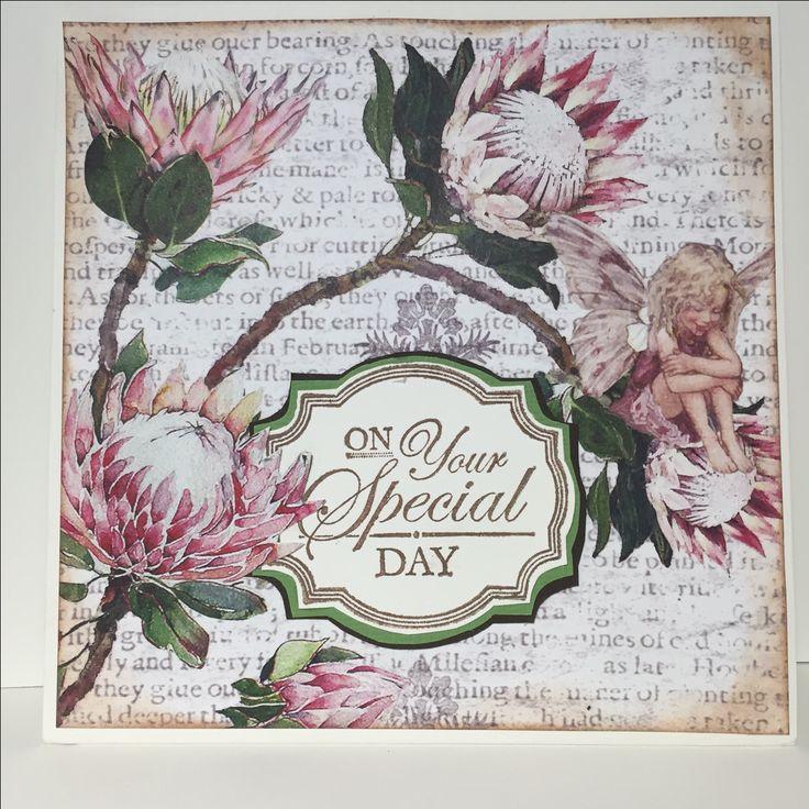 Fabscraps floral Dreams - Protea printed paper 30x30cm Paper available online