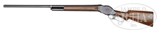 Browning M1887/1901 lever action shotgun    Manufactured by Winchester, serial number 76401.  The M1901 was a smokeless powder shotshells adaptation of the weaker M1887 designed by Browning for Winchester, the modification taking effect starting with SN 64856. The last gun produced being SN 79455, we can assume this example was produced in the 1910′s.