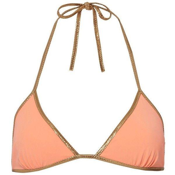 Tooshie Women's Reversible Orange Triangle Bikini Top (9,170 INR) ❤ liked on Polyvore featuring swimwear, bikinis, bikini tops, orange, triangle swim wear, reversible bikini, triangle bikini, reversible bikini top and orange bikini top