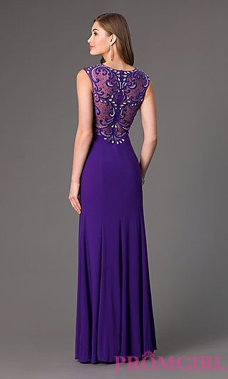 Floor Length Embellished Sheer Back Dress at PromGirl.com