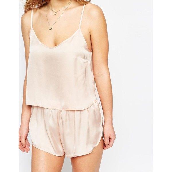 ASOS PETITE Satin Cami & Short Pyjama Set ($28) ❤ liked on Polyvore featuring intimates, sleepwear, pajamas, asos, satin short pajama set, short pajama set, short pyjamas and v neck camisole
