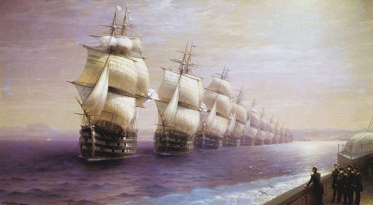 Ivan Konstantinovich Aivazovsky. Parade of the Black Sea Fleet, Date: 1849. Buy this painting as premium quality canvas art print from Modarty Art Gallery. #art, #canvas, #design, #painting, #print, #poster, #decoration