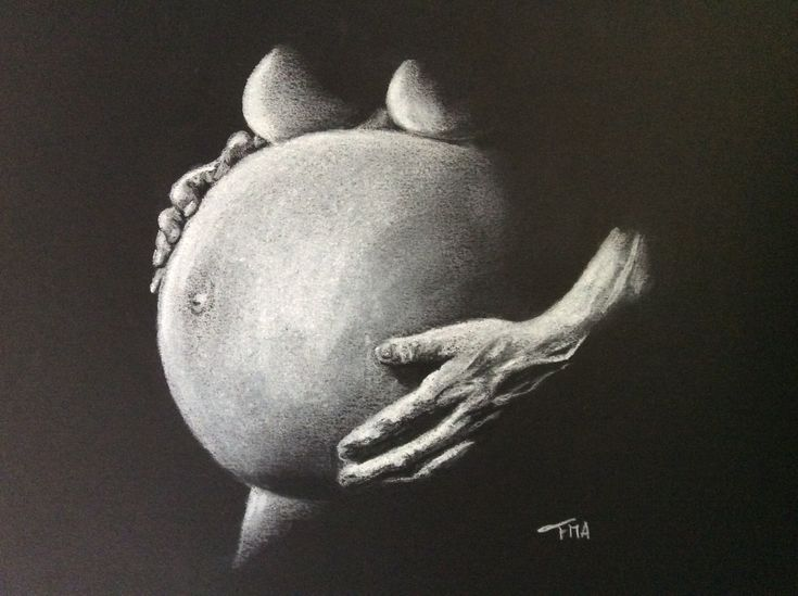 First pregnancy. White charcoal on black paper. By Fiona Ansink.