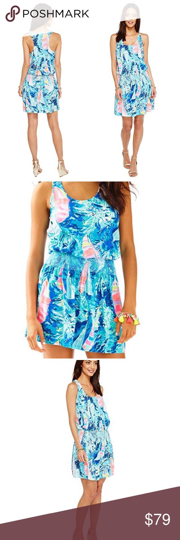 "🆕 Lilly Pulitzer Tideline Dress Hey Bay Bay Printed cotton-modal slub knit. Easy fit. Scoop neckline. Sleeveless design. Blouson bodice. Smocked detail at waist. Straight hem. Slip-on. Unlined. 60% cotton, 40% modal. Machine wash cold, tumble dry. Imported. Underarm across 24"". Length 37"". Brand new with tag. Retail price $118. Smoke free and pet free. Lilly Pulitzer Dresses"