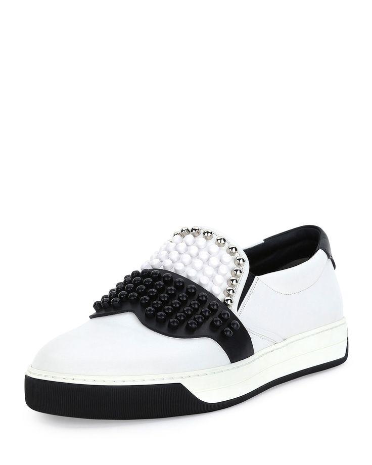 Fendi Karlito Beaded-Top Leather Slip-On Sneaker, White, Men's, Size