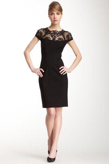A.B.S. by Allen Schwartz Ponte Fitted Lace Trim Dress