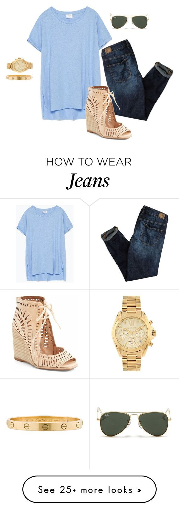 """""""White jeans would look cuter.."""" by mollykate3 on Polyvore featuring Zara, American Eagle Outfitters, Jeffrey Campbell, Cartier, Michael Kors and Ray-Ban"""