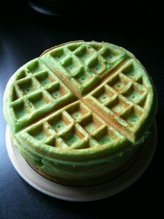 Pandan Waffles. These are really good!