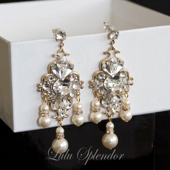 Crystal Chandelier Wedding Bridal Earrings Pearl Rhinestone Gold Jewelry Lily
