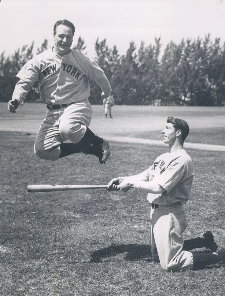 Found this in the vault. Joe DiMaggio and Lou Gehrig doing some spring training workout warm ups. Love.