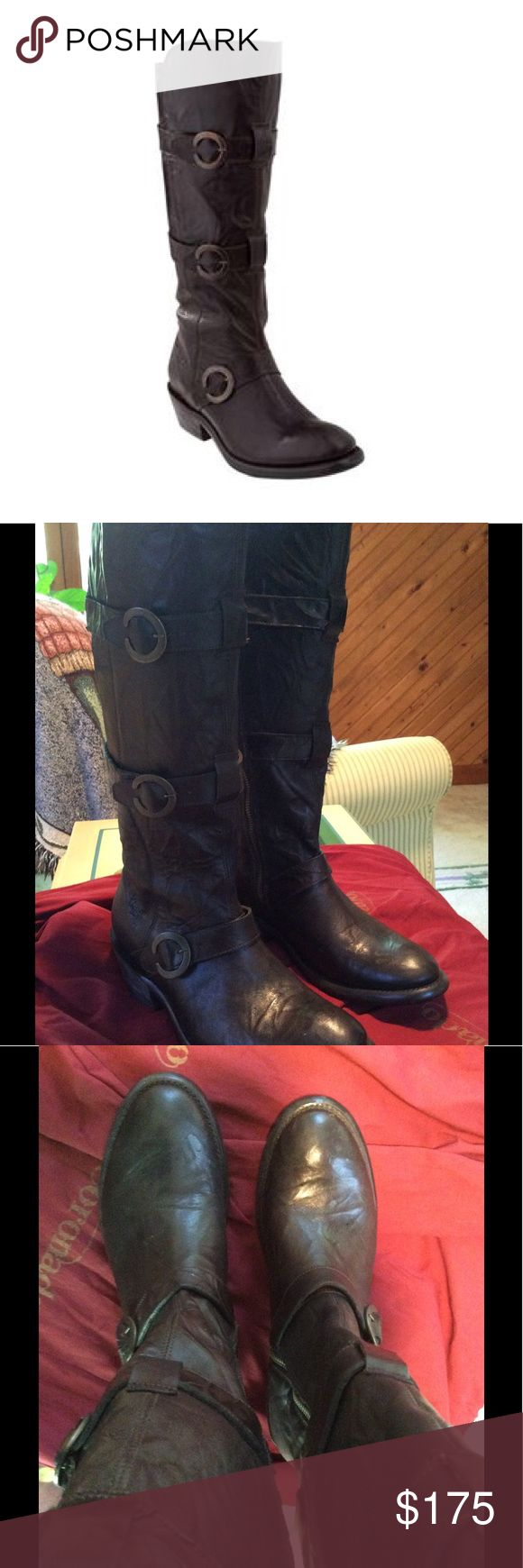 """Ariat Women's Alta Fashion Boots 9M Excellent/new condition worn 1 or 2 x. From Ariat: The Coronado Collection Alta boots are """"vintage elegance w/ bold style. The Equestrian-inspired detailing; antiqued hardware, hand-nailed tanned sole, & bold three-strap design give it a confident look.""""    *15"""" Shaft height  * Prem. full-grain leather foot & shaft * Resolable Goodyear welt * Signature leather lining * Refined craftsmanship * Hand-nailed, Veg. Tan leather outsole * Integrated…"""