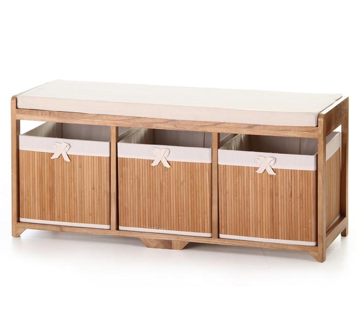 #Mueble #auxiliar horizontal de color #beige y #madera. Casa Selección.