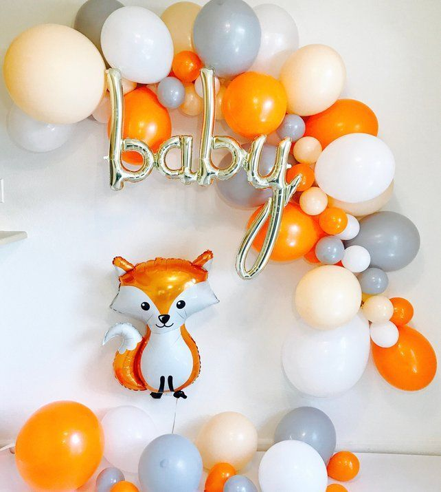 Balloon Garland, DIY Balloon Garland, Woodland Baby Shower, Modern Fox, Woodland Fox, Woodland Theme Shower, Woodland Fox Shower,Baby Script