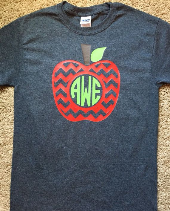 Short Sleeve Teacher Shirt with Apple by TwoSistersStickers
