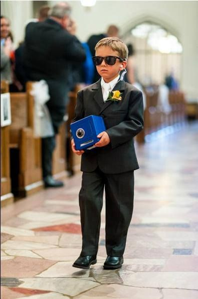"Don't forget the ""Ring Security"" at your wedding with these super cheap and easy accessories! CUTE idea for the ring bearer!"