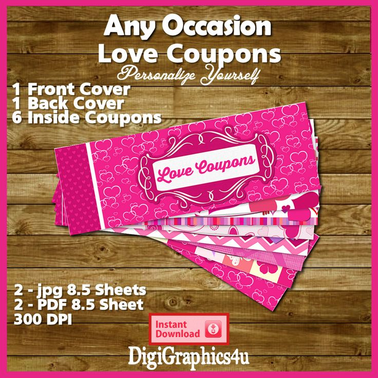 Printable Valentine's Day or Any Occasion Love Coupon Book or Love Vouchers - Instant Download JPG or PDF Files