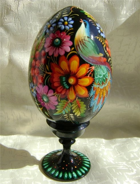 Ukrainian Handmade Egg Pysanka Wooden Stand Petrykivka