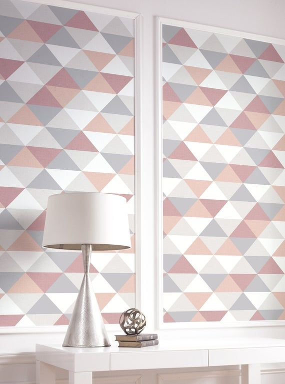 Wallpaper Peel And Stick Removable Wallpaper Pink Peel Etsy Pink And Grey Wallpaper Pink Geometric Wallpaper Removable Wallpaper