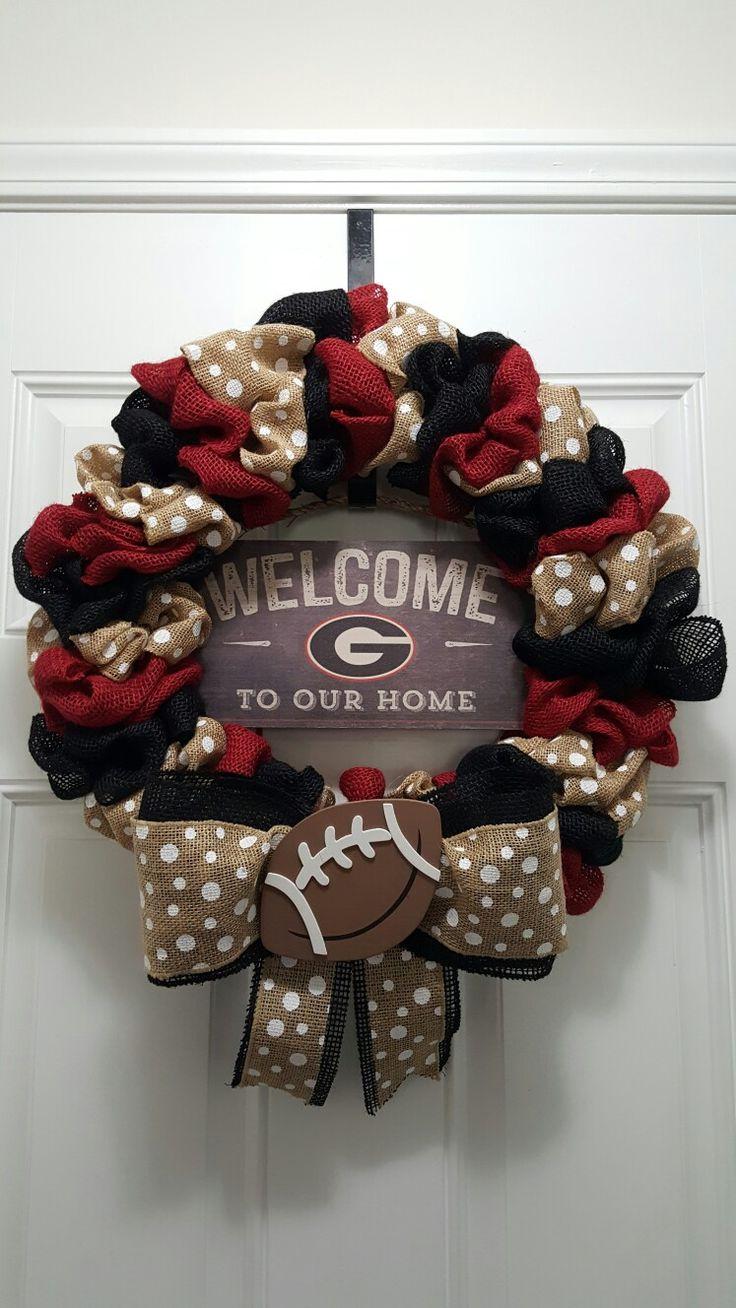 My GA wreath that I made! University of Georgia Go Dawgs!