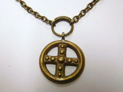 Kalevala-Koru-Finland-Vintage-Old-Bronze-Pendant-with-chain-Cross-in-a-ring