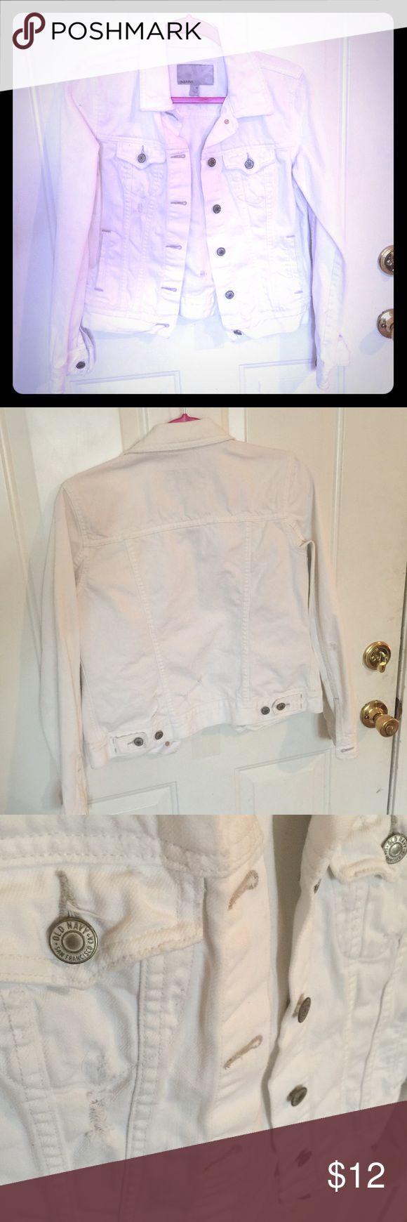 White denim jacket old navy distressed Originally slightly distressed white denim jacket Old Navy Jackets & Coats Jean Jackets