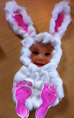 Easter bunny - cotton balls, footprints and a photo.