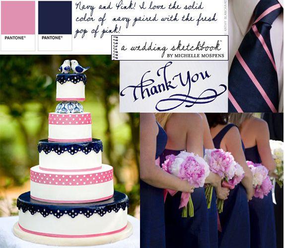 .: Pink Wedding, Colors Combos, Idea, Navy Pink, Colors Theme, Wedding Colors, Grooms Ties, Navy Blue, Pink Peonies