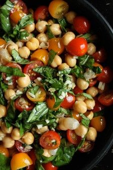 Chickpea and Tomato Salad with fresh Basil-made it with balsamic instead of red wine. Delicious!