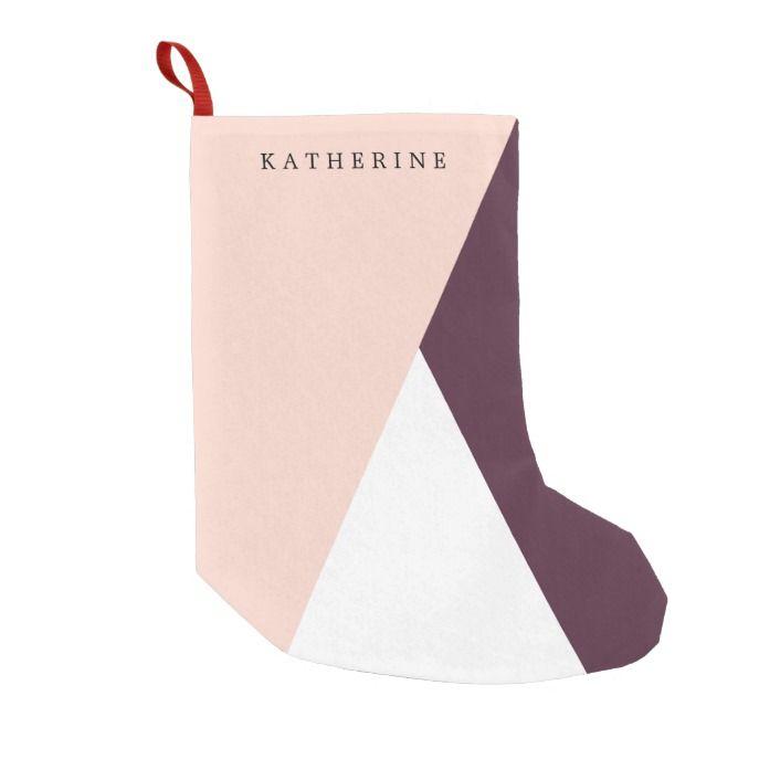 0b9ffc7e4 Elegant blush pink   burgundy geometric triangles small christmas stocking   stocking  christmas  sock  xmas