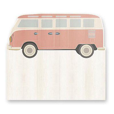 Testiera Wagon in legno di pino  rosa ed ecru  115 x 5 x 105 cm