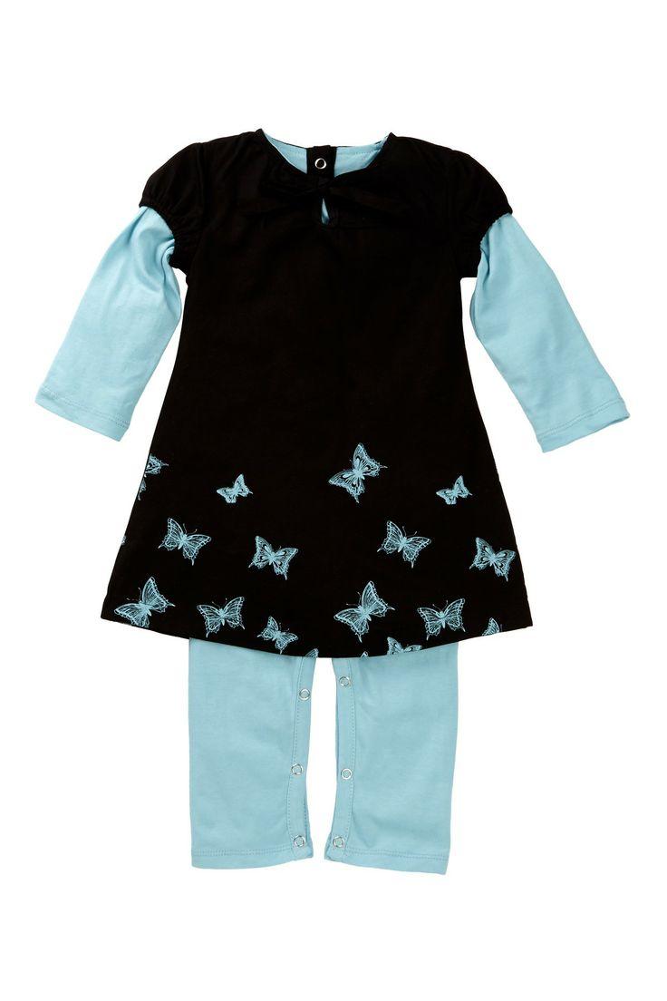 Twofer Sleeve Dress Jumpsuit (Baby Girls)
