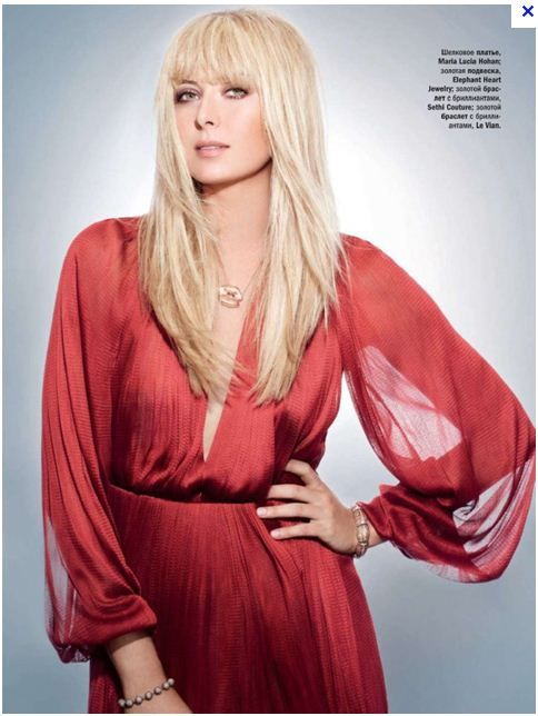 Tennis star Maria Sharapova wears Elephant Heart's rose gold XO kiss necklace in Glamour Russia.