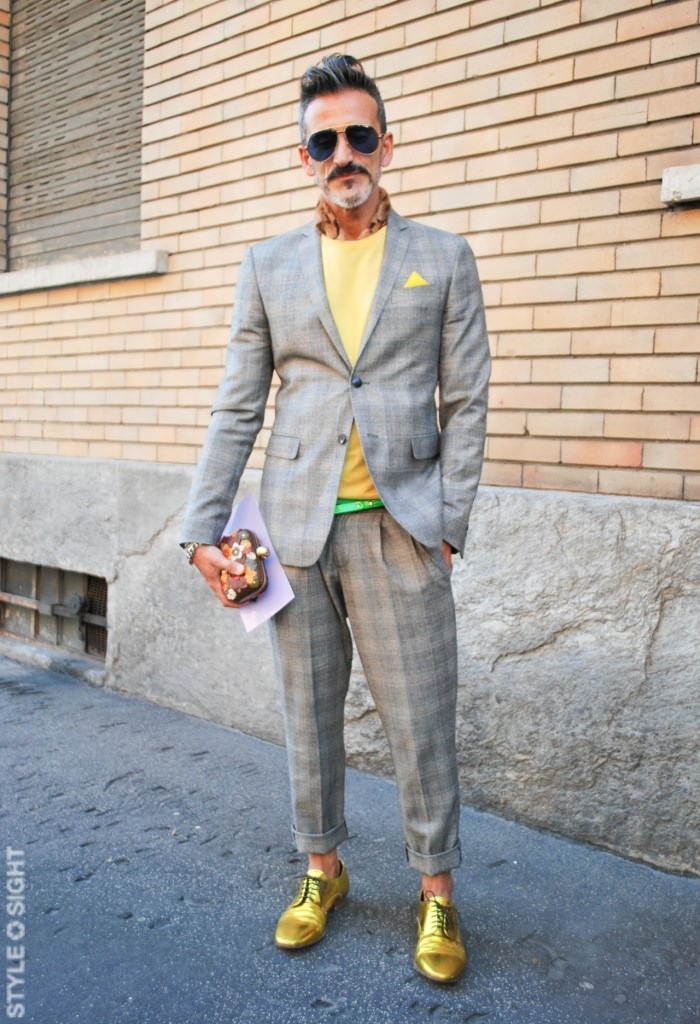 Gold shoes, yellow and grey suit and knit. Love. | WEAR ...